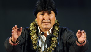 Bolivia's President Evo Morales gives a speech during a meeting with