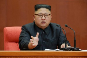 North Korean leader Kim Jong Un speaks during the Second Plenum of the 7th Central Committee of the Workers' Party of Korea (WPK) at the Kumsusan Palace of the Sun, in this undated photo released by North Korea's Korean Central News Agency (KCNA) in Pyongyang October 8, 2017. KCNA/via REUTERS.
